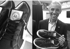 GREATS Brand showing their love with a special 1-of-1 pair of the #Royale After recently getting special commemorative #sneakers from #UnderArmour and #JordanBrand as a #thankyou to his #eightyears (8) at the helm, our now-former #44thPresident #BarackObama created the Royale with a black leather upper and #Presidential #Seal #Patches on each #Tongue Receiving special sneaker packages like the #AirJordan #MTM #collection and the #FirstLady #MichelleObama received a pair.