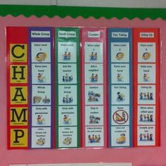 CHAMPS poster- Editing this to make it suitable for a music classroom. My activities will include entering the classroom singing playing instruments movement small groups and lining up. Champs Behavior Management, Classroom Behavior Management, Classroom Procedures, Classroom Rules, Music Classroom, Classroom Organization, Classroom Ideas, Classroom Routines, Class Management