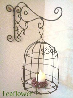 Wire Cage With Candle Love