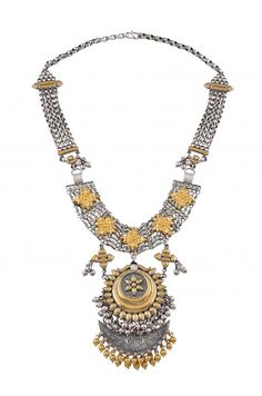 Silver Two Toned Hanging Crescent Floral Necklace - Amrapali Hollywood Celebrity Jewellery India