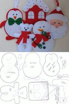 Risultati immagini per moldes de natal Christmas Projects, Felt Crafts, Holiday Crafts, Felt Christmas Decorations, Felt Christmas Ornaments, Tree Decorations, Christmas Makes, Christmas Fun, Christmas Animals