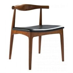 Replica Hans Wegner CH20 Elbow Chair Dark Brown Dining room chairs.  Like the simplicity. The curve adds interest to the.mainly square objects in the room.  The wood matches the oak table and the black leather seat ties in the oven and the mirror as well as being practical for kids.