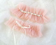 Nude Pink Baby Pink Tulle Garter Set Ruffles by ChihiroBridal