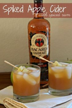 Spiked Apple Cider With Spiced Rum - the perfect drink recipe for Fall! #SweetNLowStars #client