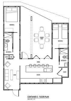 plan eines container-hauses mit atrium. so ähnlich könnte die küche sein; dimensionen stimmen allerdings nicht.