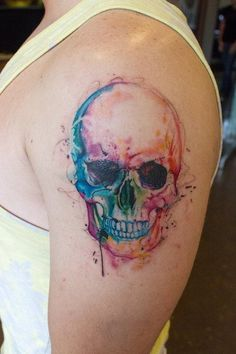 Watercolor Skull Tattoos By Britta Christiansen - Click for More...