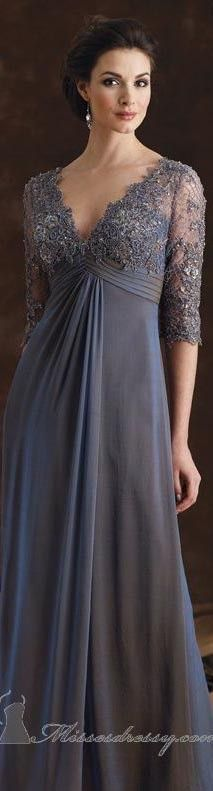 V-Neck Formal Gown by Mon Cheri Montage - Herren- und Damenmode - Kleidung Mob Dresses, Trendy Dresses, Nice Dresses, Bridesmaid Dresses, Mother Of Groom Dresses, Mothers Dresses, Vetements Paris, Gowns Of Elegance, Formal Gowns