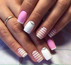 3d nails, Beautiful nails 2017, Cool nails, Evening french manicure, Modern nails, Nail art stripes, Nails trends 2017, Natural nails