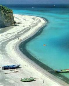 Ivory white beach and turquoise seas Sicily, Italy