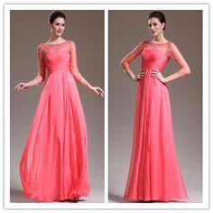 New Arrival 3 4 Length Sleeve A Line Floor Length Beaded Bodice Shiny Prom Dresses