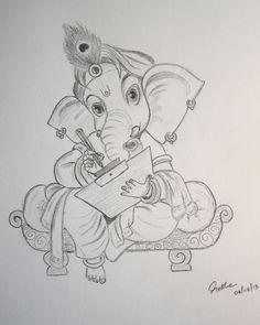 Pencil Sketches Easy, Girl Drawing Sketches, Girly Drawings, Art Drawings Sketches Simple, Pencil Art Drawings, Drawing Pics, Ganesha Sketch, Ganesha Drawing, Ganesha Painting