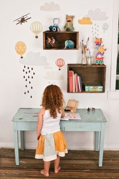 Vintage crates + whimsical wall decals