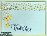Handmade birthday card using Stampin' Up! products - Sassy Salutations Set, Confetti Stars Punch, Itty Bitty Accents Punch Pack, and Baker's Twine.  By Michele Reynolds, Inspiration Ink, http://inspirationink.typepad.com/inspiration-ink/2014/09/birthday-party-stamp-camp-follow-up.html.
