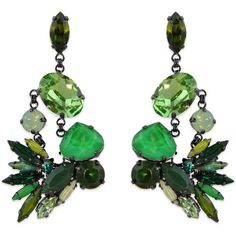 Rental Erickson Beamon Tropical Punch Earrings (594.450 IDR) ❤ liked on Polyvore featuring jewelry, earrings, green, erickson beamon earrings, swarovski crystal jewelry, erickson beamon, green jewelry and swarovski crystal earrings