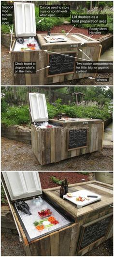 Rustic Cooler From Broken Refrigerator & Pallets