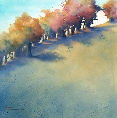 Maud Durland's Watercolor Paintings Watercolor Painting Techniques, Watercolor Landscape Paintings, Watercolor Trees, Landscape Prints, Abstract Watercolor, Watercolor And Ink, Landscape Art, Painting & Drawing, Art Aquarelle