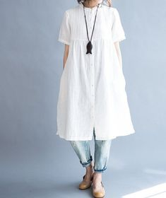 cotton Pleated white Loose Fitting Long shirt #BlousesWomenLargeBust