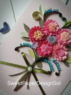 Paper Quilling Dahlia bouquet card for Birthday, Mothers day ,Congratulations , Wedding, Anniversary Gift,Home Decor