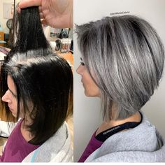White Hair Highlights, Grey Hair Transformation, Medium Hair Styles, Short Hair Styles, Silver Grey Hair, Silver Color, Short Grey Hair, Grey Hair Inspiration, Transition To Gray Hair