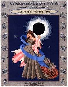 Dance of the Total Eclipse Cross Stitch Pattern - Eyes downcast, this splendid dancer spirals gracefully away from the sight of the eclipse. Stitch count is 146w by 194h.