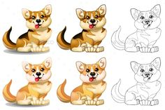 The set of lovely dogs of a Welsh Corgi sits, brown and light-red of colorfull and contour line. A cartoon vector illustration iso