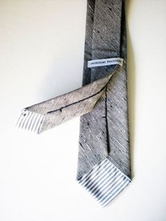 Grey Denim Tweed Tie by jacquelinerousseau, on sale on Uncovet.