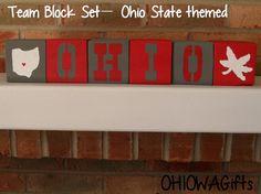 Hand-Painted Collegiate Block Set, Ohio State Buckeyes on Etsy, $25.00