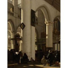 Interior Of Gothic Protestant Church During A Service Canvas Art - (24 x 36)