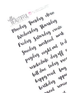 """<p>Everyday planner word stickers to complete your monthly or weekly layouts in a beautiful brush script font. This is my favorite font which you've probably seen all over the site and on some printed VB materials. Matches with the Sparkling Rose sticker collection.</p><p><br>STICKER SHEET: 3"""" x 7""""</p><meta charset=""""utf-8""""><p><span>Matte White Sticker</span><br><span>- Permanent </span><br><span>- All pens, pencils, markers and stamping ink pads will work</span><br><br><span>Repositionable…"""