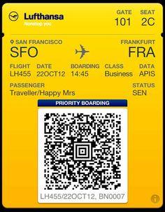 """Mobile Bordkarte über """"Passbook""""-App jederzeit verfügbar. http://www.travelbusiness.at/news/mobile-bordkarte-uber-passbook-app-jederzeit-verfugbar/009223/#more-9223"""