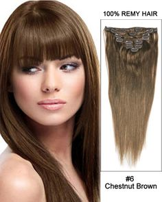 """30"""" #6 Chestnut Brown Straight 100% Remy Hair Clip in Hair Extensions"""