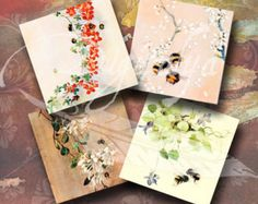 Instant Download - FLOWERS AND BEES - Digital Collage Sheet - Squares 4 inch for cards, coasters & Squares 1 inch for resin pendant, magnets