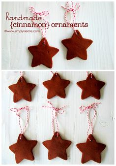 Handmade Cinnamon Ornaments are so easy to make, and look darling on your tree! Perfect gifts, too!