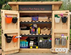 Self selection shed for outdoor continuous provision - Mark making. Eyfs Outdoor Area, Outdoor Fun, Outdoor Classroom, Outdoor School, Classroom Ideas, Outdoor Learning Spaces, Outdoor Spaces, Outdoor Living, Shed Design Plans