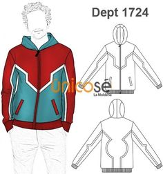 Men's Zipfront Hoodie, from Unicose patterns. Track Suit Men, Mens Activewear, Fashion Flats, Boys Shirts, Fashion Sketches, Sweater Hoodie, Mens Suits, Pattern Design, Sportswear