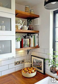 Before & After: A Small Shabby London Kitchen Gets A Chic Update Small Kitchen Remodel Chic Kitchen London Shabby Small Update Kitchen Corner, Kitchen Shelves, Diy Kitchen, Kitchen Dining, Open Shelves, Wall Shelves, Kitchen Hacks, Kitchen Storage, Kitchen Cabinets