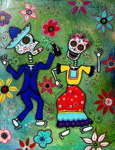 Dia de los Muertos Bailar Painting. Couple, dancers, mexican, painting, sale, for sale, cool, day of the dead, calaveras, mariachi, dance, skeleton, skulls, #prisarts