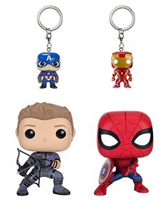 From Captain America 3: Civil War Hawkeye and Spiderman POPs and Iron Man and Captain America Key chains as a stylized POP vinyl and Keychain 4 pack from Funko! Figures stand 3 3/4 inches 1 1/2 inc...