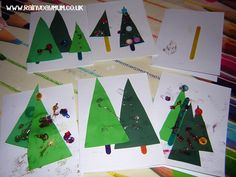 Get creative this Christmas and have kids make these simple Christmas Cards that kids of all ages can make together - pictured above are examples from a toddler and preschooler.