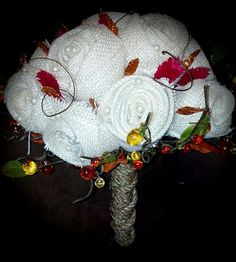 Burlap rose and Pearl bouquet