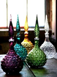 "thatbohemiangirl: "" My Bohemian Aesthetic Vintage-look genie bottles, via… Bottles And Jars, Glass Bottles, Perfume Bottles, Magic Bottles, Bottle Vase, Glass Vase, Bohemian Decor, Bohemian Style, Boho Gypsy"