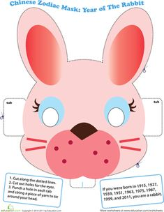 Chinese New Year Kindergarten Paper Projects Community & Cultures Worksheets: Make a Chinese Zodiac Mask: Year of the Rabbit