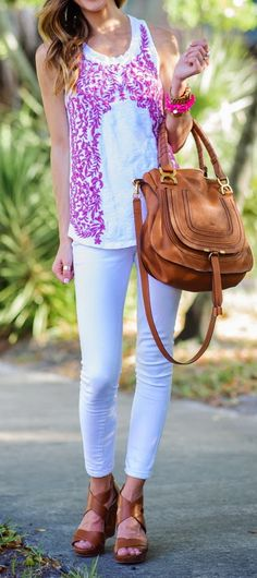 White Denim + Embroidered Top