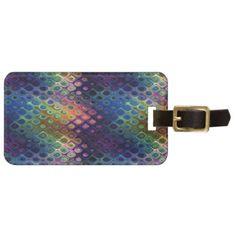Retro Peacock Tiles Iridescent Blue Purple Green Luggage Tag