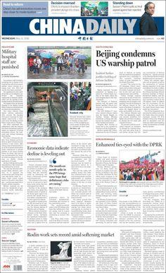 #20160511 #CHINA #ChinaTodayNEWSpapers20160511 Wednesday MAY 11 2016 http://en.kiosko.net/cn/2016-05-11/ <+> #BEIJING #ChinaDaily20160511 http://en.kiosko.net/cn/2016-05-11/np/china_daily.html