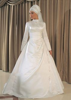 a7827f81fc4a Directsale High Quality Satin Made Long Sleeve High Neck Gold Embroidery  Muslim Bridal A-Line Wedding Dress Free Measurement