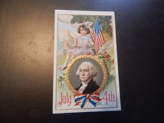 antique postcard fourth of july with george washington and little girl with firecracker by postcardvault on Etsy