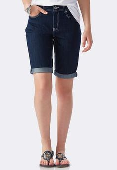 Cato Fashions Tribal Embroidered Bermuda Jean Shorts #CatoFashions