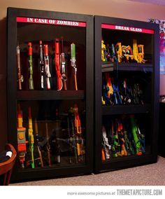 I swear if I wasn't absolutely broke I would TOTALLY have this in my house. Nerf Gun storage shelf.