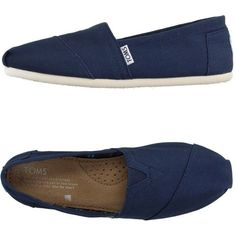 Toms Sneakers ($56) ❤ liked on Polyvore featuring shoes, sneakers, blue, round cap, flat shoes, toms footwear, rubber sole shoes and toms sneakers